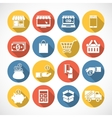 On Line shopping icons with long shadow vector image