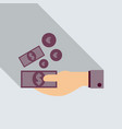 payment hand cash icon in flat style with shadow vector image