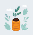 plant on stark coins vector image vector image