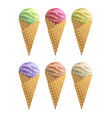 realistic ice cream with waffle cone set vector image vector image