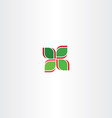 red green four leaf abstract icon vector image