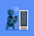 robot hacker on blue background concept modern vector image