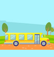 School bus in countryside landscape on background