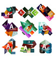 set of geometric infographic banners paper info a vector image vector image