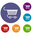 shopping trolley icons set vector image vector image