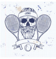 skull with tennis racquets vector image