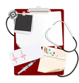 Stethoscope on medical clipboard vector image