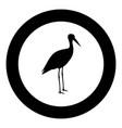 stork ciconia icon black color in circle round vector image vector image