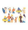 summer vacation at sea and beach characters vector image vector image
