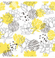 trendy abstract yellow and grey waterlilies or vector image vector image