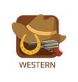 western cinema genre symbol for cinema or channel vector image vector image