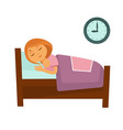 little redhead girl sleeps in bed isolated vector image