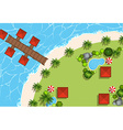 Aerial scene of huts and beach vector image vector image