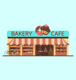 bakery facade showcase with sweets vector image vector image