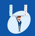 businessman balance between work and life vector image vector image