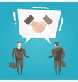 Businessmen with handshake speech cloud vector image
