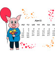 calendar for 2019 with the chinese new year pig vector image