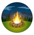 Cartoon bonfire on night landscape vector image vector image