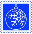 Christmas ball on stamp vector image