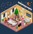 christmas party isometric composition vector image vector image