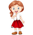 cute girl in white shirt and red skirt vector image vector image