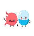 cute strong happy smiling pill vector image vector image