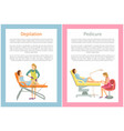 depilation and pedicure posters text set vector image