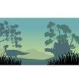 Dinosaur eoraptor and stegosaurus silhouette vector image vector image