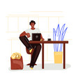 freelance man work in comfortable cozy home office vector image