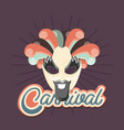 funny carnival mask with beard feathers retro vector image