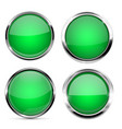 glass buttons green round 3d buttons with chrome vector image vector image