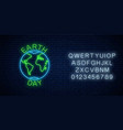 glowing neon sign world earth day with globe vector image vector image