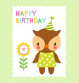 greeting card with cute owl vector image vector image