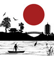 japanese scenery poster vector image vector image