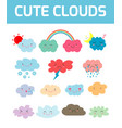 lovely cute clouds icons set of emoticons vector image