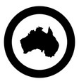 map of australia icon black color in circle round vector image vector image