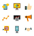 marketing icons set flat style vector image vector image