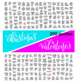 Mega set of 200 hand lettering calligraphy quotes vector image