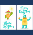 merry christmas wild animals with congratulations vector image vector image