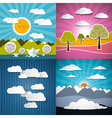 Nature Paper Set - Mountains Meadow Sky and River vector image