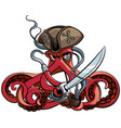 octopus the pirate vector image vector image