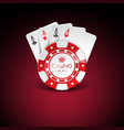on a casino theme with red playing chips and vector image