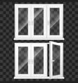 realistic 3d detailed white plastic pvc window set vector image vector image