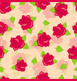 Red rose with green leaves seamless pattern