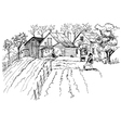 rural landscape sketch vector image vector image