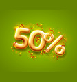 sale 50 off ballon number on green background vector image vector image