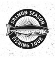 salmon season fishing tournament emblem vector image vector image