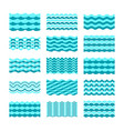 seamless blue water wave tiles set for patterns vector image vector image