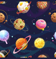 seamless pattern with cartoon fantasy food planets vector image