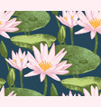 Seamless pattern with water lily flowers